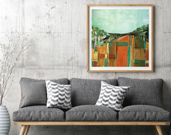 Mid Century Modern Inspired, abstract landscape, modern abstract, mid century abstract, art print, patchwork abstract landscape art, field