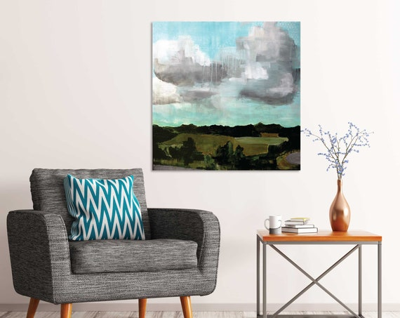 Summer Fields, original painting, mid century modern art, modern landscape, landscape painting, interior design, interior staging, cloud art