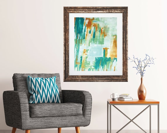 Original Abstract Art Print, modern abstract painting, teal art, contemporary art, giclee art print, mid century modern, interior decor,