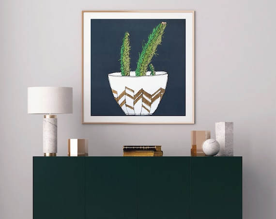 cactus decor, cactus art, cactus art print, succulent art, interior design, modern mid century, plant decor, gold leaf, original wall art