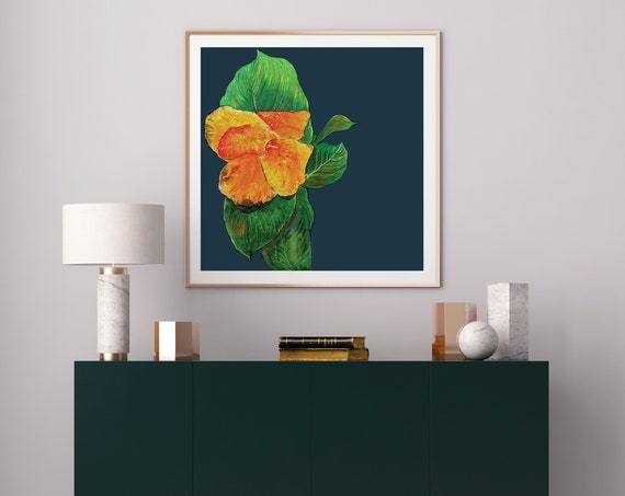 tropical art print, tropical wall art, mid century modern art, gold leaf art, lobby art, canna flower, modern floral art, tropical decor art