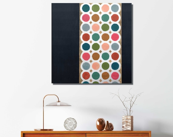 Original abstract geometric painting, gold leaf mixed media painting, mid century modern art, interior staging, dot art, circles, bright art