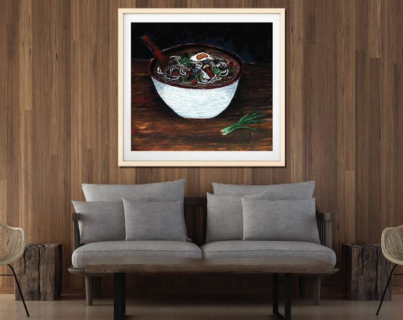 Noodle Soup Art Print, Food art, painting of food, udon noodle, commercial art print, restaurant artwork, modern design, interior staging