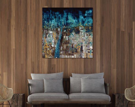 abstract landscape, field at night, interior wall art, commercial art, abstract art, interior decor, lobby art, night sky art, geometric art