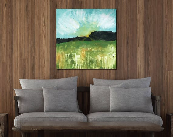 Abstract sunset painting, abstract landscape, interior wall art, abstract nature painting, modern landscape, abstract sun, sun art, sun rays