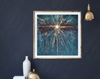 Crown of Thorns, Eucharist, star, passion of Christ, modern religious art, gold leaf, inspirational art, Jesus art, Catholic, holy week art