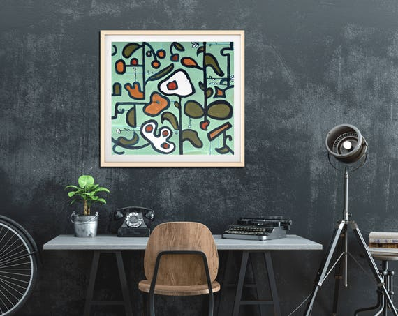 Mid Century Inspired Floral art print, abstract floral, contemporary wall art, commercial art, retro floral, interior staging, wall art