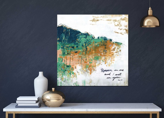 Inspirational wall art, religious art, modern abstract, abstract painting, positive quote, wisdom, bible quote, John inspirational quote God