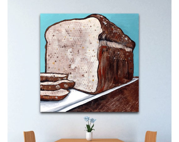 Bread Alone, loaf of bread, food art, kitchen art, commercial art, wall art, painting, bread painting, religious art, wheat, gluten art,