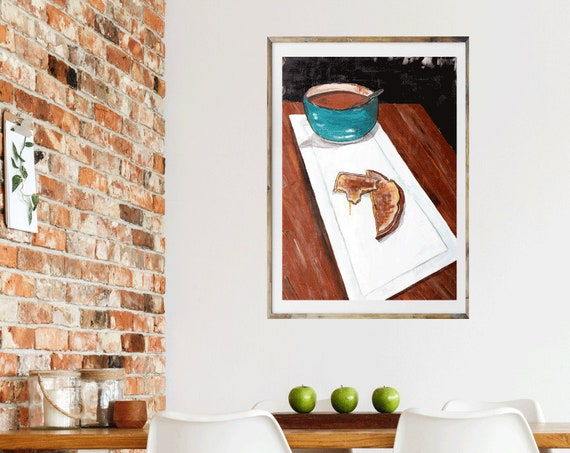Grilled Cheese and Tomato Soup art print, food art, commercial art, restaurant art, cafe art, lunch, dinner, kitchen artwork, wall art, food