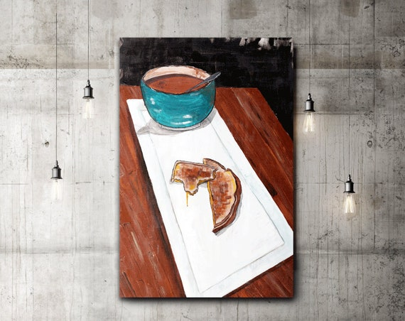 Grilled Cheese And Tomato Soup painting, food art, commercial art, restaurant wall art, kitchen art, grilled cheese, soup, cafe wall art,