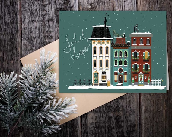 Let it Snow Holiday Card, seasonal greeting Christmas card, Victorian vintage houses in winter, modern Victorian Christmas card