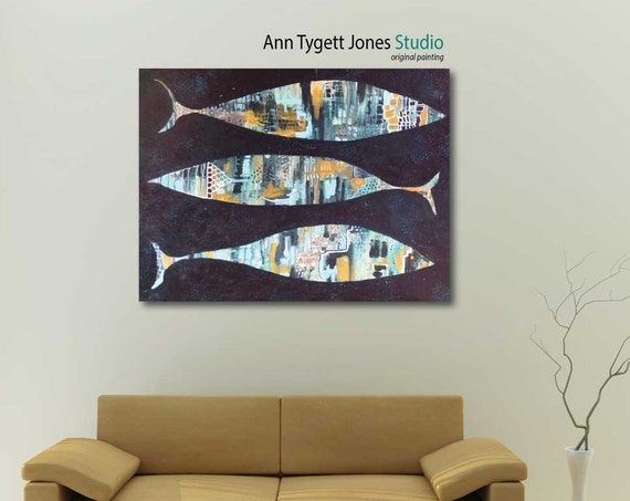 Original Abstract Acrylic Fish Painting, handmade acrylic painting, modern interior decor, fish and ocean wall art, contemporary art
