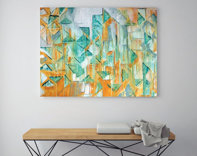 contemporary geometric art print abstract art giclee print of original painting art print mid century modern teal and yellow art 3