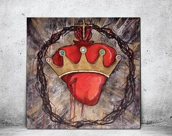 Christ the King, Sacred Heart of Jesus, Crown of Thorns, Catholic art, Crown, Jeweled Crown, Modern Catholic Painting, Gold Leaf, king, God