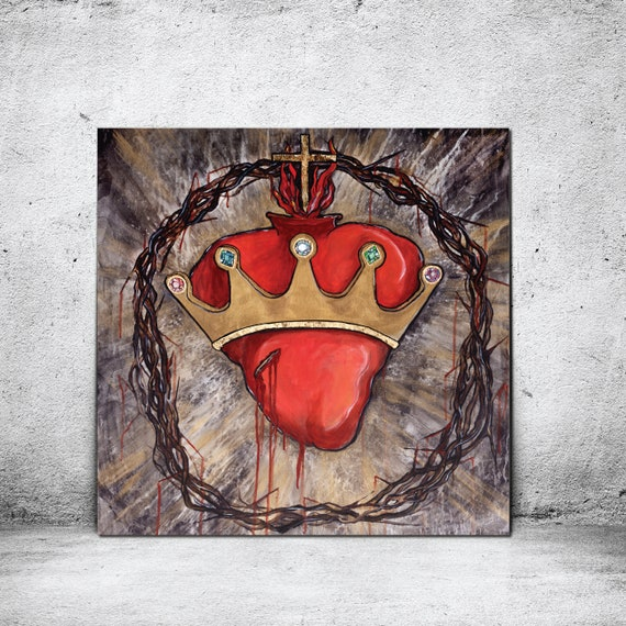 Christ the King, Sacred Heart of Jesus, Crown of Thorns, Catholic art, Crown, Jeweled Crown, Modern Catholic Painting, Gold Leaf, king, God