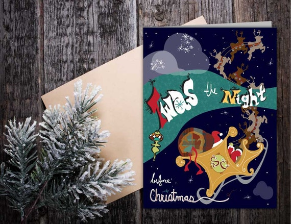 Twas the Night Before Christmas greeting card, retro style story book Christmas greeting card, santa sleigh illustrated seasonal card