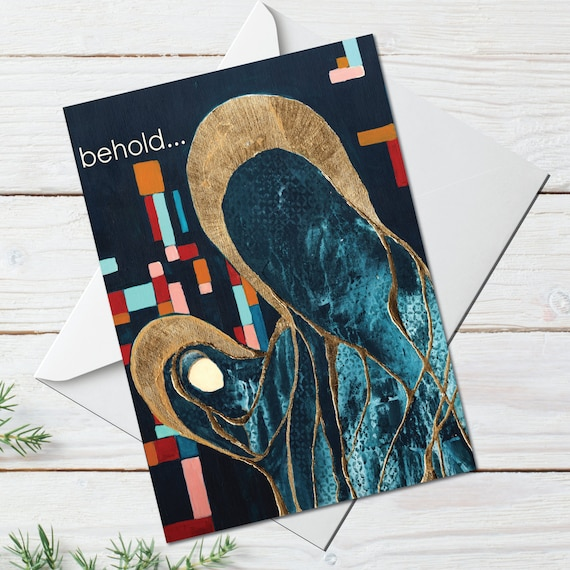 Religious Christmas card, greeting card, mid century modern holiday greeting card, gold leaf star, MOTHER MARY, modern holiday card catholic