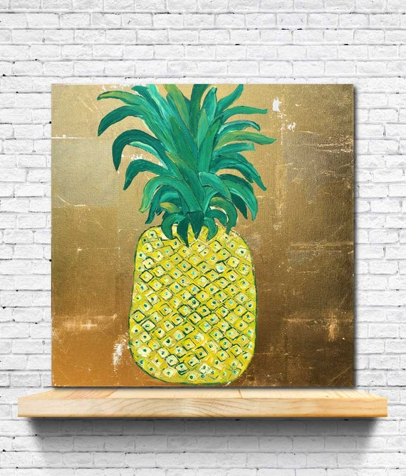 Tropical Decor, PINEAPPLE GOLD, Gold foil painting, pineapple art,interior decor, modern gold wall art, tropical artwork, art, pineapple