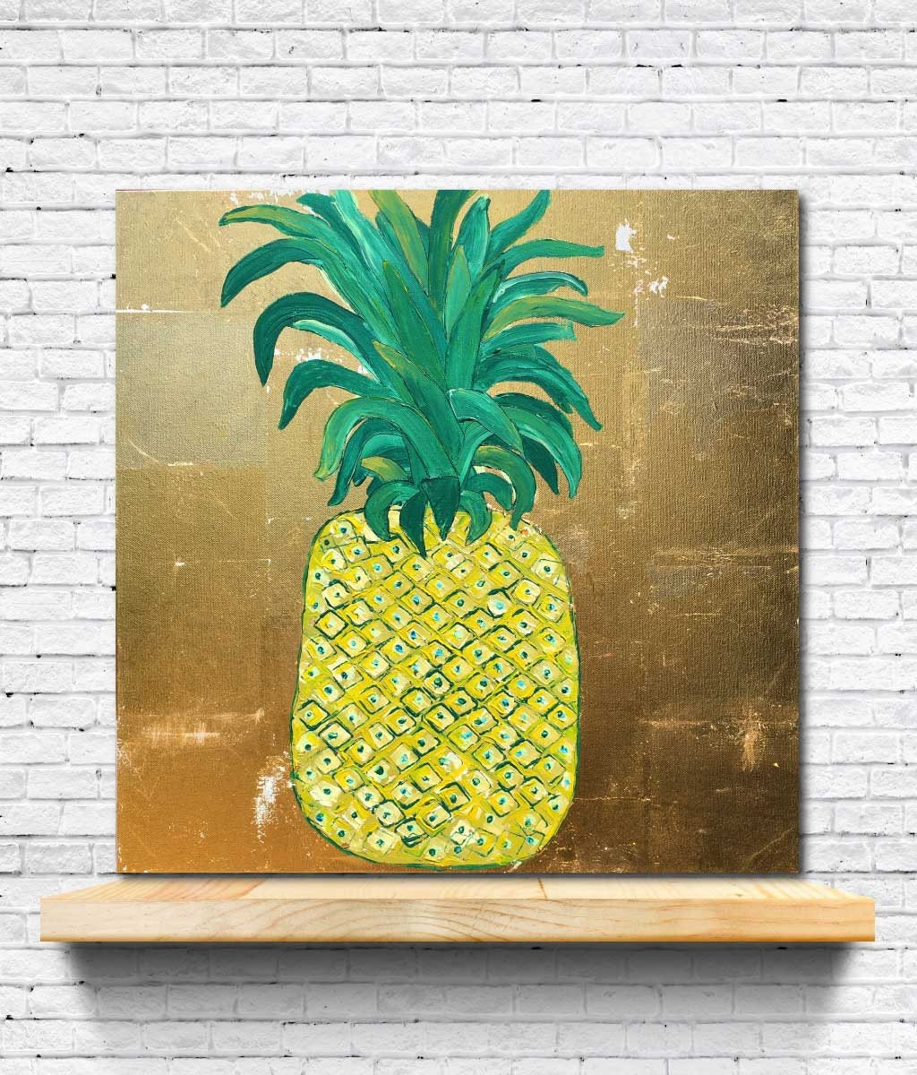 Tropical Decor, PINEAPPLE GOLD, Gold foil painting, pineapple art ...