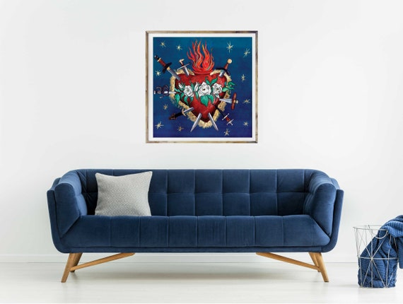 Seven Swords of Sorrow, Mary Mother of God, Heart of Mary, Immaculate Heart of Mary, Catholic art, Catholic art print, gold leaf, religious
