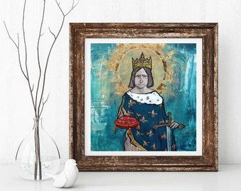 Saint Louis, Louis the Saint, King Louis IX of France, Catholic King, Catholic art, Sacred Images, Portrait of King St. Louis, Giclee art