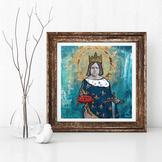 Saint Louis, Louis the Saint, King Louis IX of France, Catholic King, Catholic art, Sacred Images, Portrait of King St. Louis, Giclee art