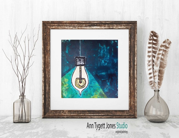 Art Print of Original Abstract Painting, acrylic painted canvas, LIGHT BULB art, light bulb painting, modern wall art, contemporary art
