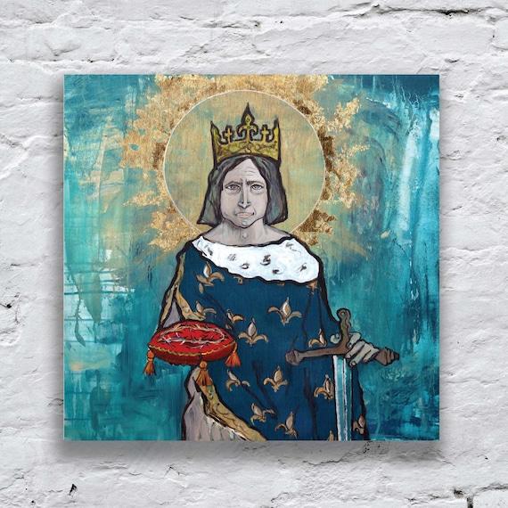Saint Louis, Louis the Saint, King Louis IX of France, Catholic King, Catholic art, Sacred Images, Portrait of King St. Louis, St. Louis art