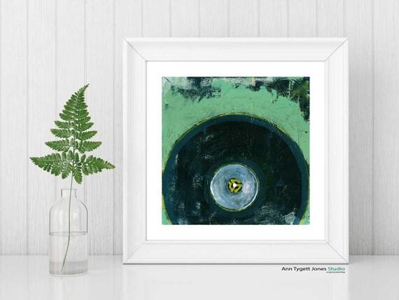 record art print, VINYL record painting, vintage music art, modern hipster art print, mint green, abstract wall art, retro music art print,
