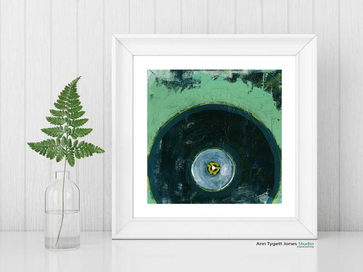 record art print, VINYL record painting, vintage music art, modern ...