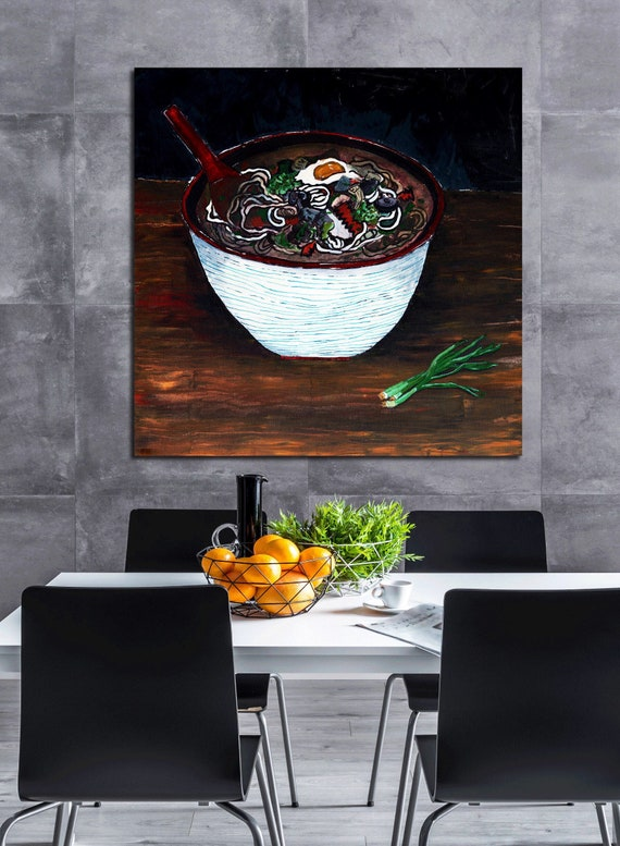Noodle Soup Art, food art, painting of noddles, egg, scallions, restaurant art, commercial art, modern food art, recipe, udon, kitchen art