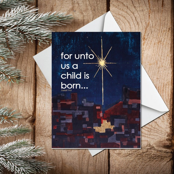 Christmas card, religious greeting card, mid century modern holiday greeting card, gold leaf star, A CHILD IS BORN, modern holiday card