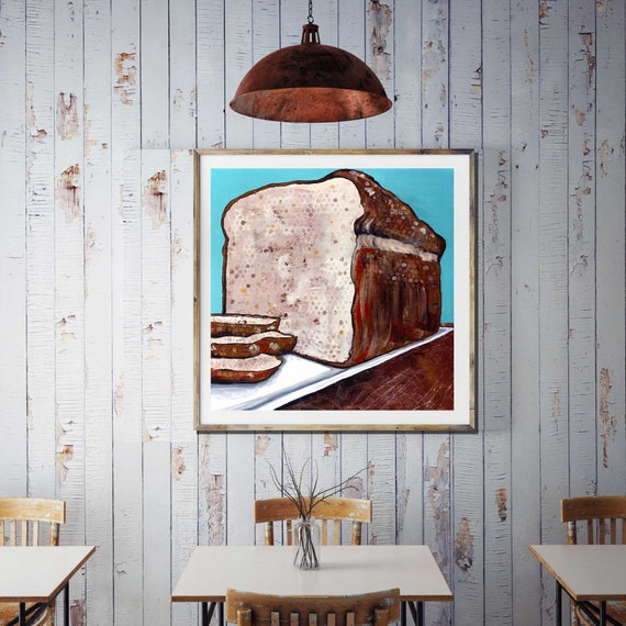 BREAD ALONE, art print of loaf of bread, cafe wall art, restaurant art, food art, commercial art, food wall art, wheat, biblical art work,