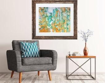3, giclee print of original painting, abstract art, teal and yellow art, modern mid century art print, contemporary geometric art print, art