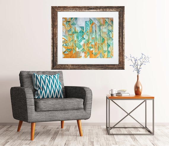 3, giclee print of original painting, abstract art, teal and yellow art, modern mid century art print, contemporary geometric art print, art