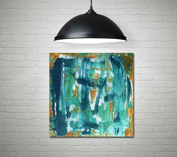 Abstract painting, acrylic abstract, blue abstract, teal art, contemporary abstract, mid century modern art,  abstract art, interior decor