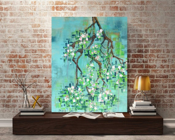 Abstract Tree Painting, apple blossoms, abstract tree art, apple tree art, abstract botanical art, interior wall art, spring art, tree art