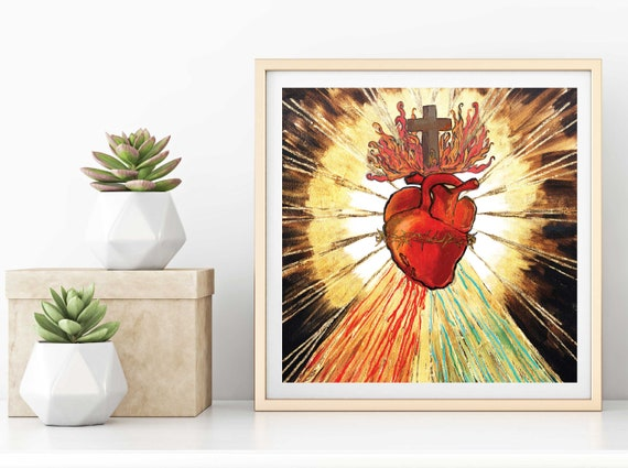 Sacred Heart of Jesus painting, catholic art, Divine Mercy, Crown of Thorns, Heart of Christ, religious art, inspirational art, gold leaf,