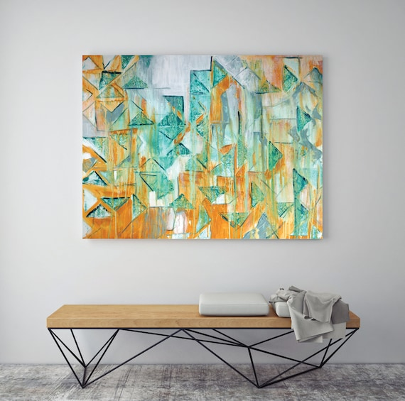 3, giclee print of original painting, abstract art, teal and yellow art, mid century modern, art print, contemporary geometric art print