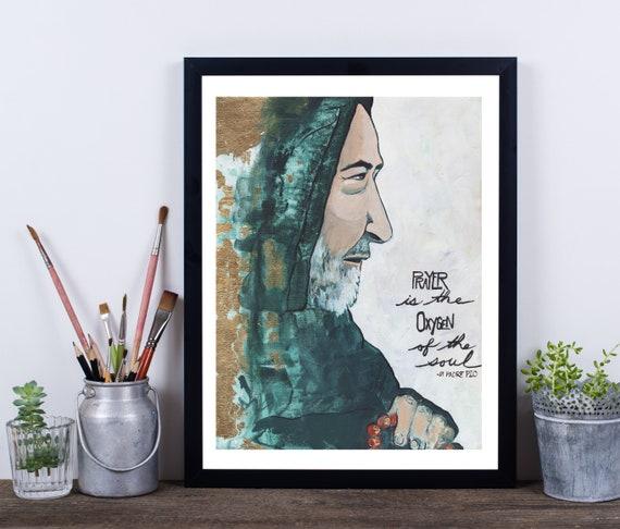 Padre Pio, Catholic art, Catholicism, inspirational quote, love, prayer, gold leaf art, abstract religious art, quote, modern religious art
