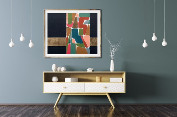 ART PRINT, mid century modern art print, modern abstract, abstract, gold leaf, retro, mid century modern interior design, contemporary art