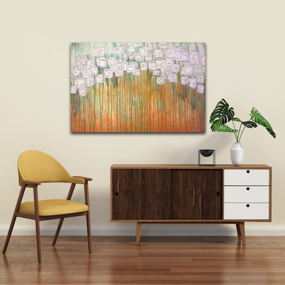 Sugar Cube Blossoms, funky original wall art, fun floral abstract painting, original abstract painting, acrylic abstract floral painting