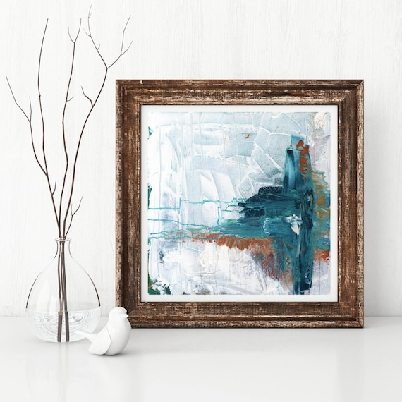 ICEBERG, Giclee art print of original abstract acrylic painting, white abstract art image, modern abstract print, contemporary art print