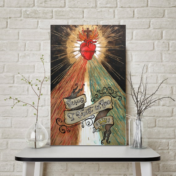 Divine Mercy, sacred heart of Jesus, Jesus I trust in you, catholic art, Christ, modern religious art, gold leaf, inspirational saying