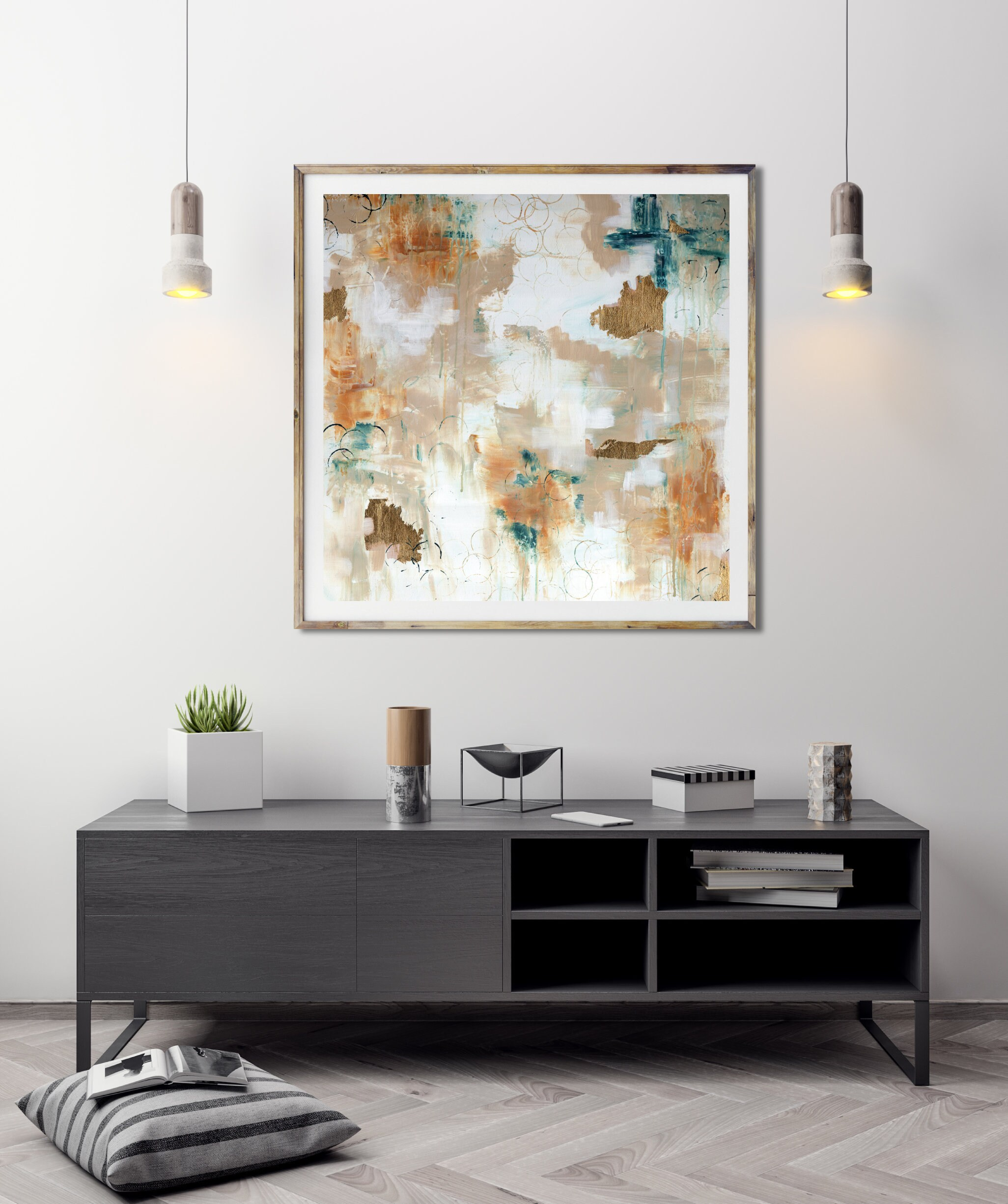 Modern House Interior Paint: Gold Teal Abstract, Abstract Art Print, Acrylic Painting