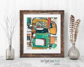Art print of original abstract original painting, PEACHES, modern abstract, contemporary art, abstract wall art, handmade interior decor
