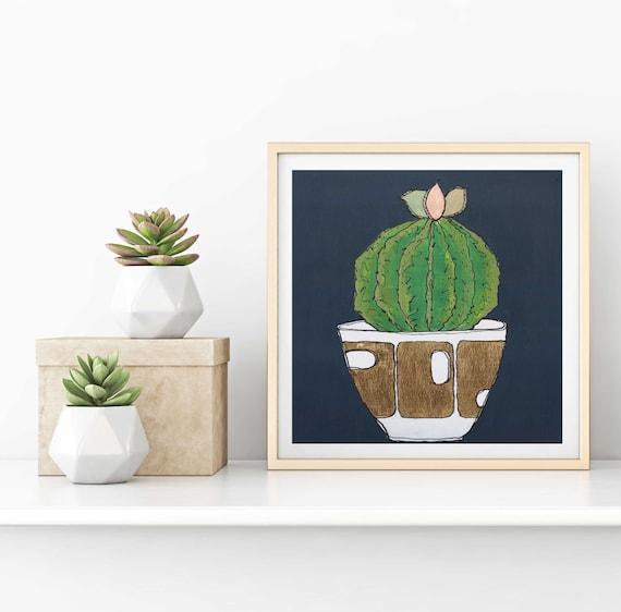 cactus decor, cactus art, cactus art print, succulent art, cactus flower, modern mid century, tropical plant, gold leaf, original wall art