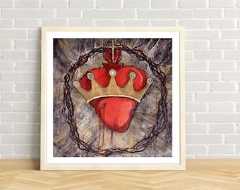 Christ the King, Sacred Heart of Jesus, Crown of Thorns, Catholic art, Crown, Jeweled Crown, Modern Catholic art print, Gold Leaf, king, God