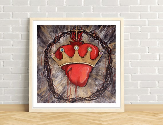 Christ the King, Sacred Heart of Jesus, Crown of Thorns, Catholic art, Crown, Jeweled Crown, Modern Catholic art print, Gold Leaf, king, God